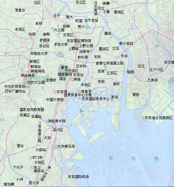 东京旅游景点分布图