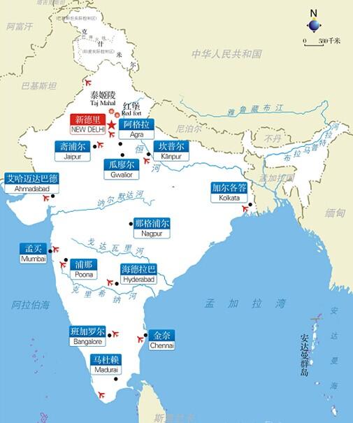 郑州旅游公司,河南旅游公司,郑州青年旅行社,印 度旅游地图